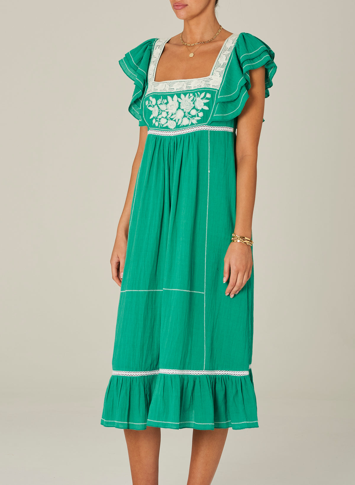 M.A.B.E. - Alberta Dress | Green/Ecru