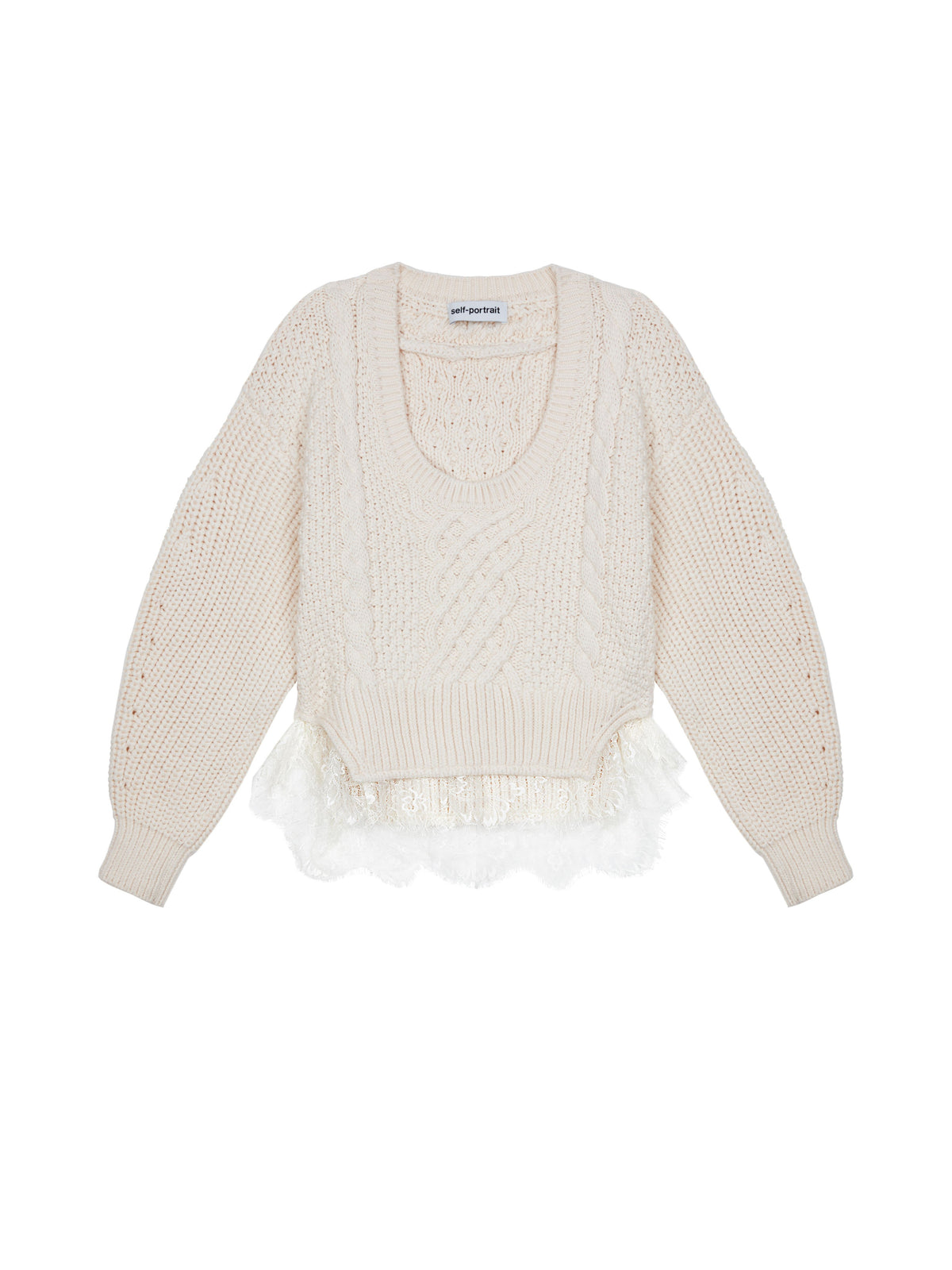 Self-Portrait - Cable Knit Lace Jumper | Ivory