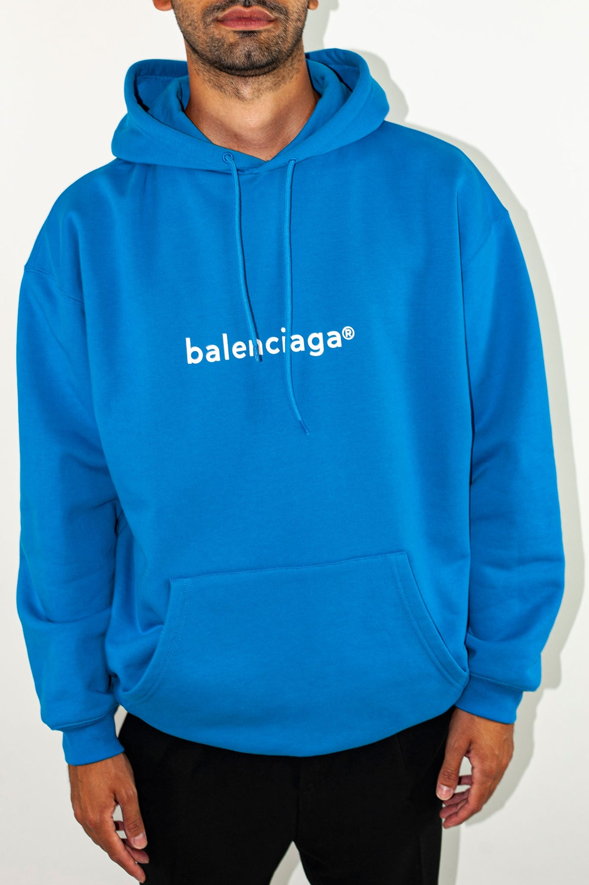 BALENCIAGA - Medium Fit Hoodie | Screen Blue/White