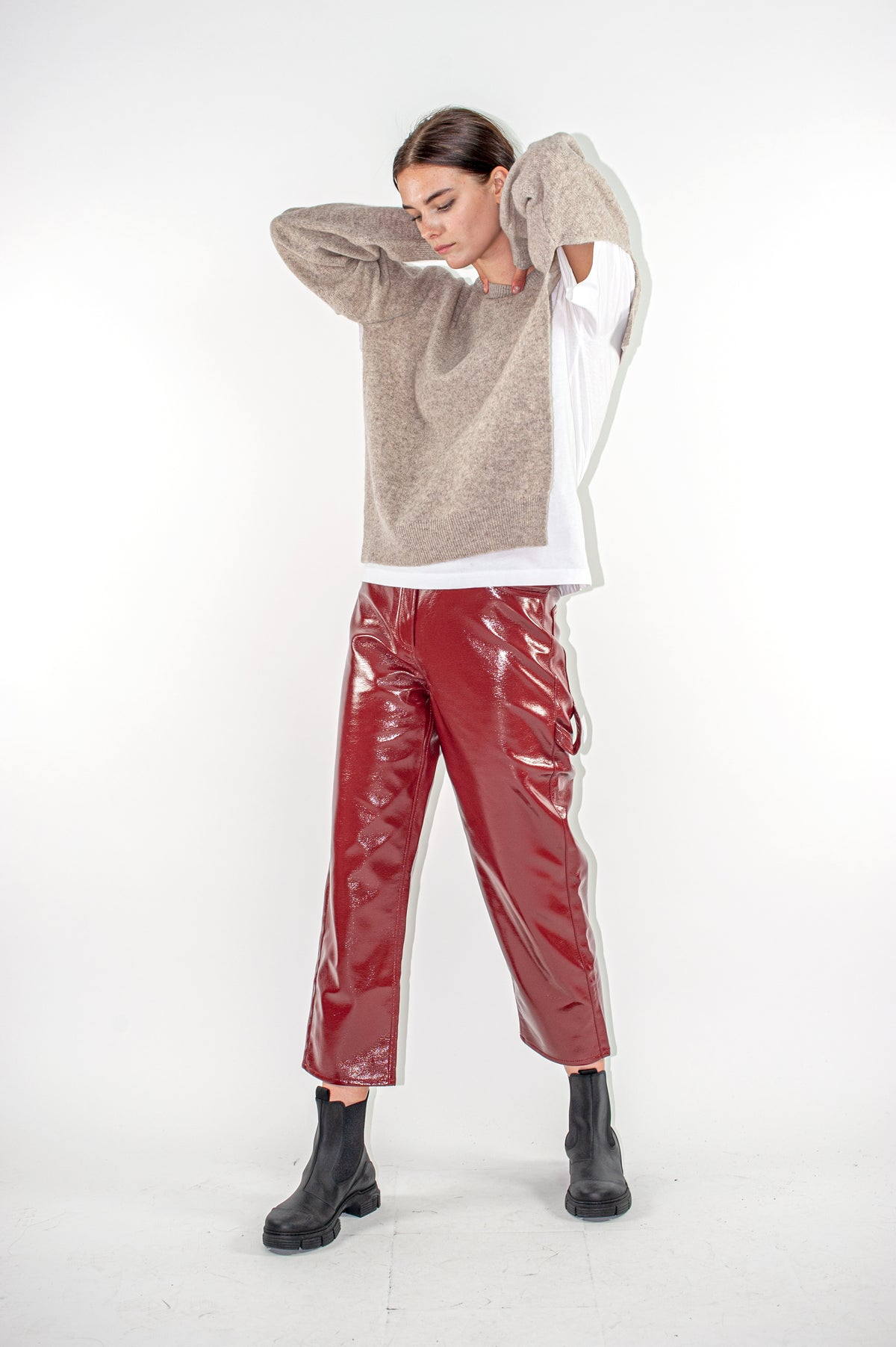 Faux Leather Cropped Carpenter Pant | Rusty Brown
