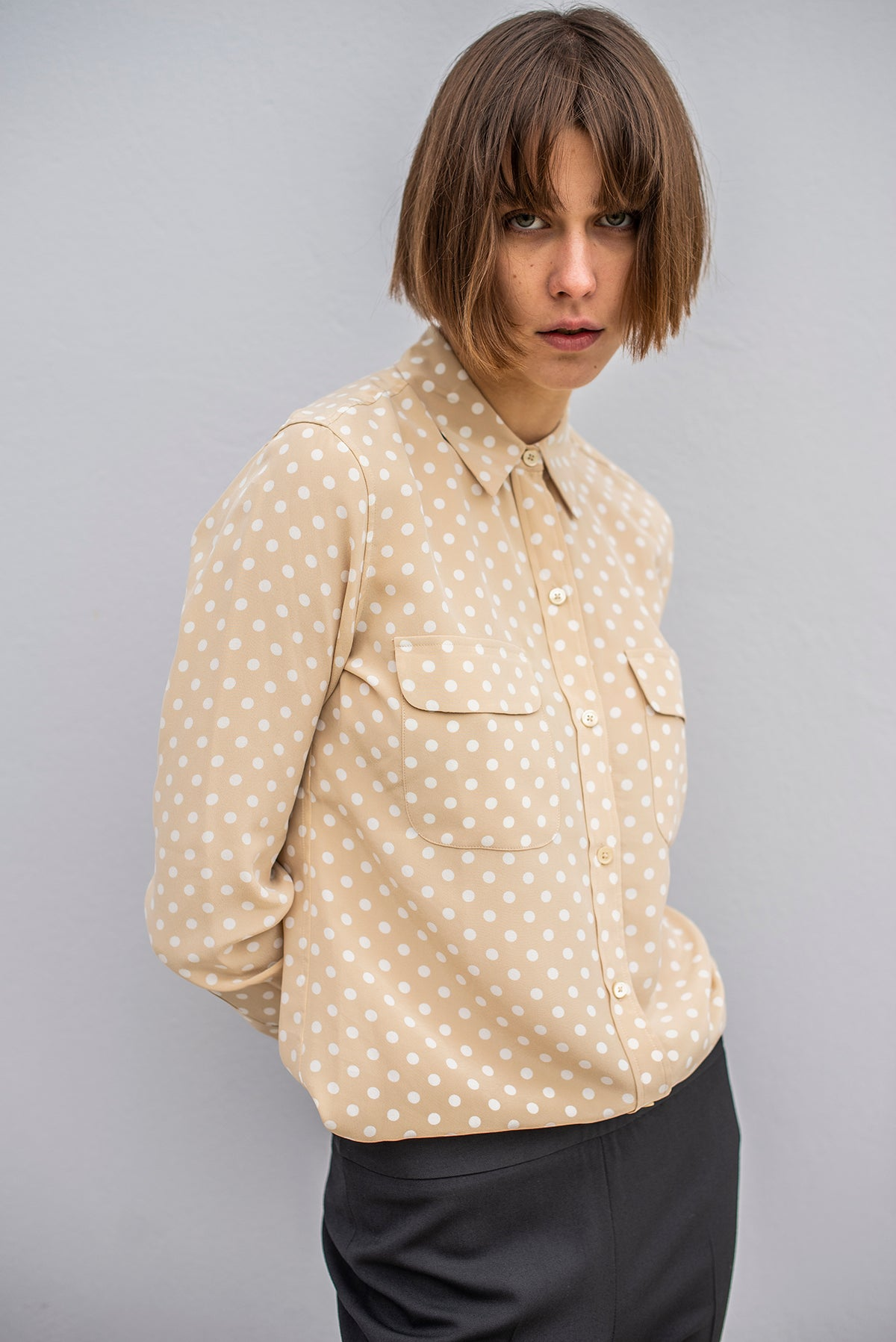 Equipment - Slim Signature Shirt - Safari/White