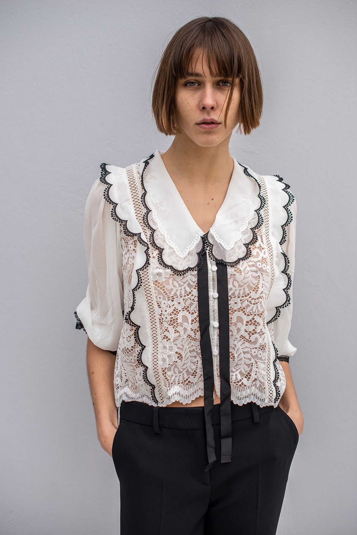 Self-Portrait - Cord Lace Bow Collar Shirt | White