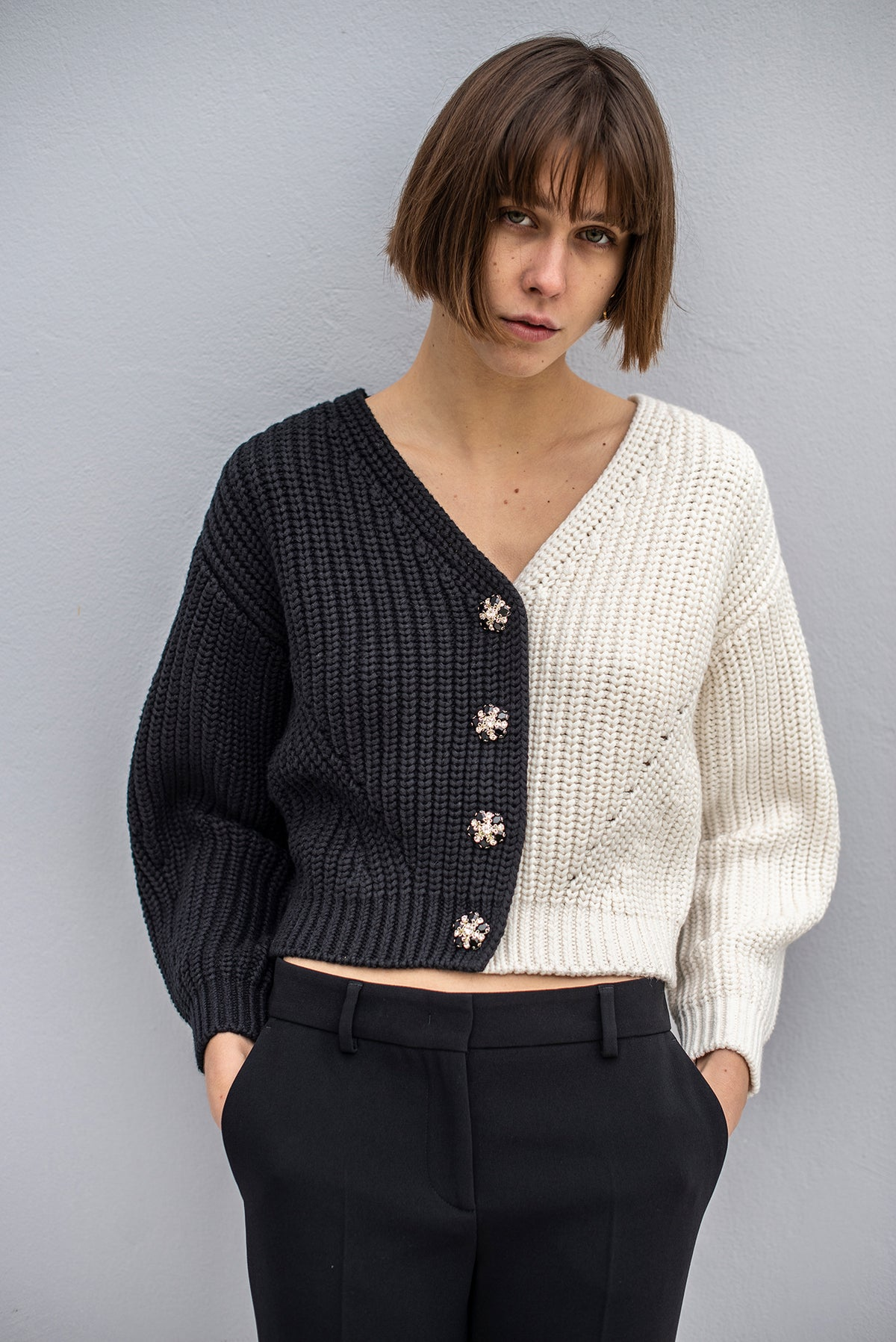 Self-Portrait - Contrast Knit Cardigan | Multi