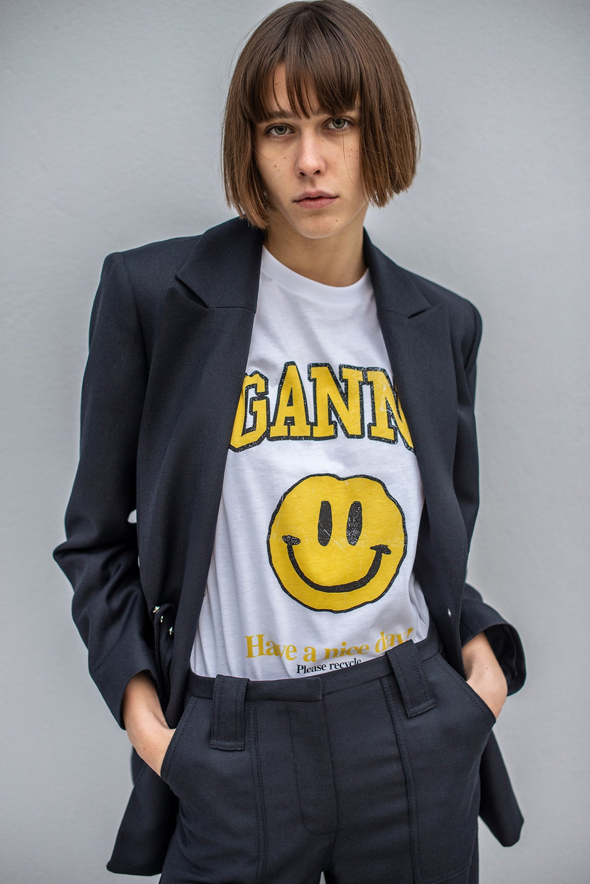 Ganni - Smiley T-shirt | Bright White