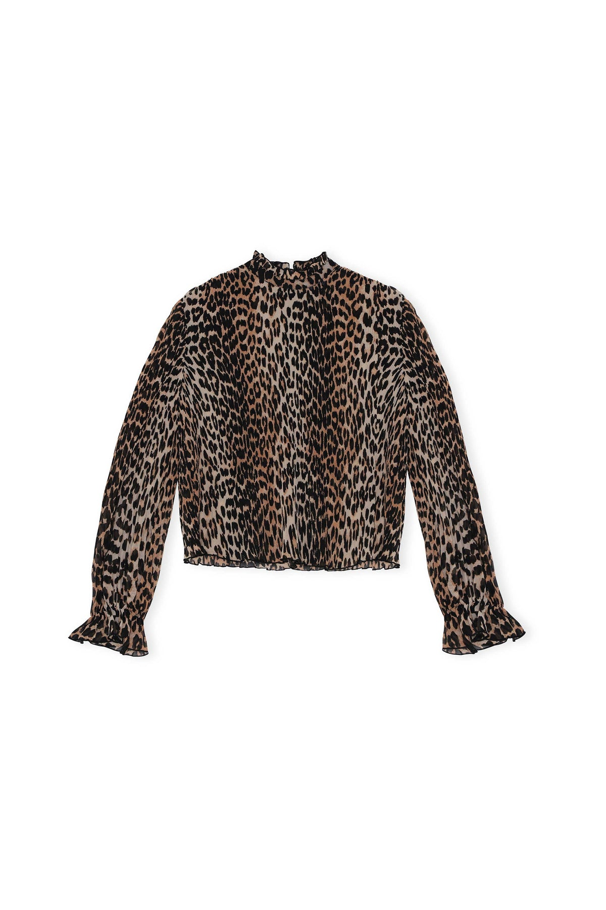 Pleated Georgette Top - Leopard