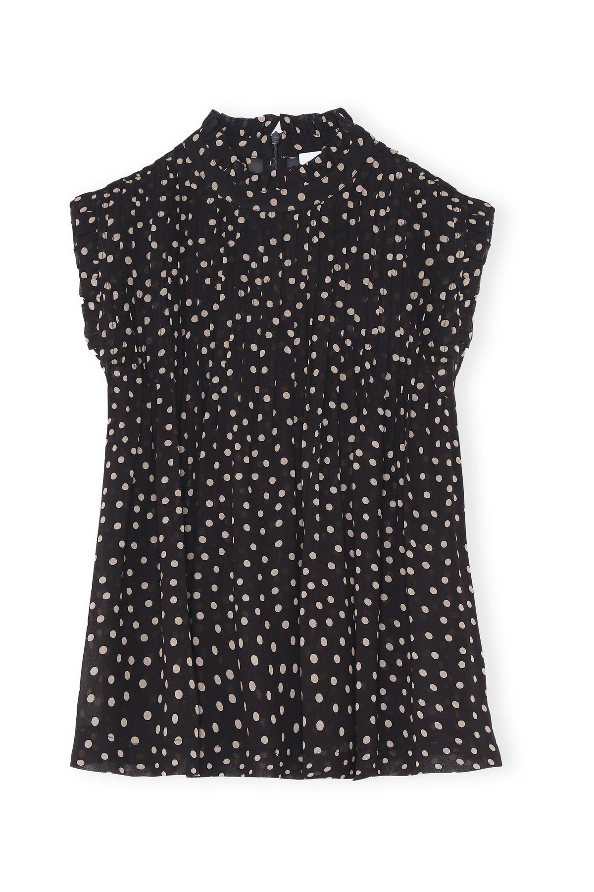 Polka Dot Printed Georgette Top - Black