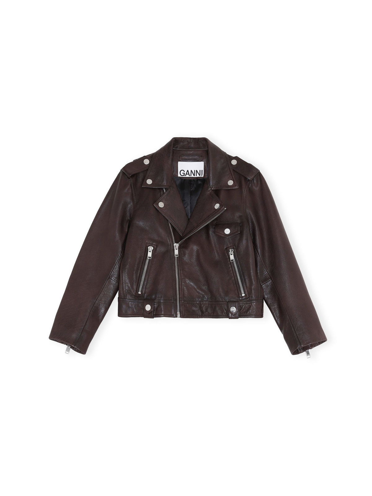 Leather Biker Jacket | Chicory Coffee