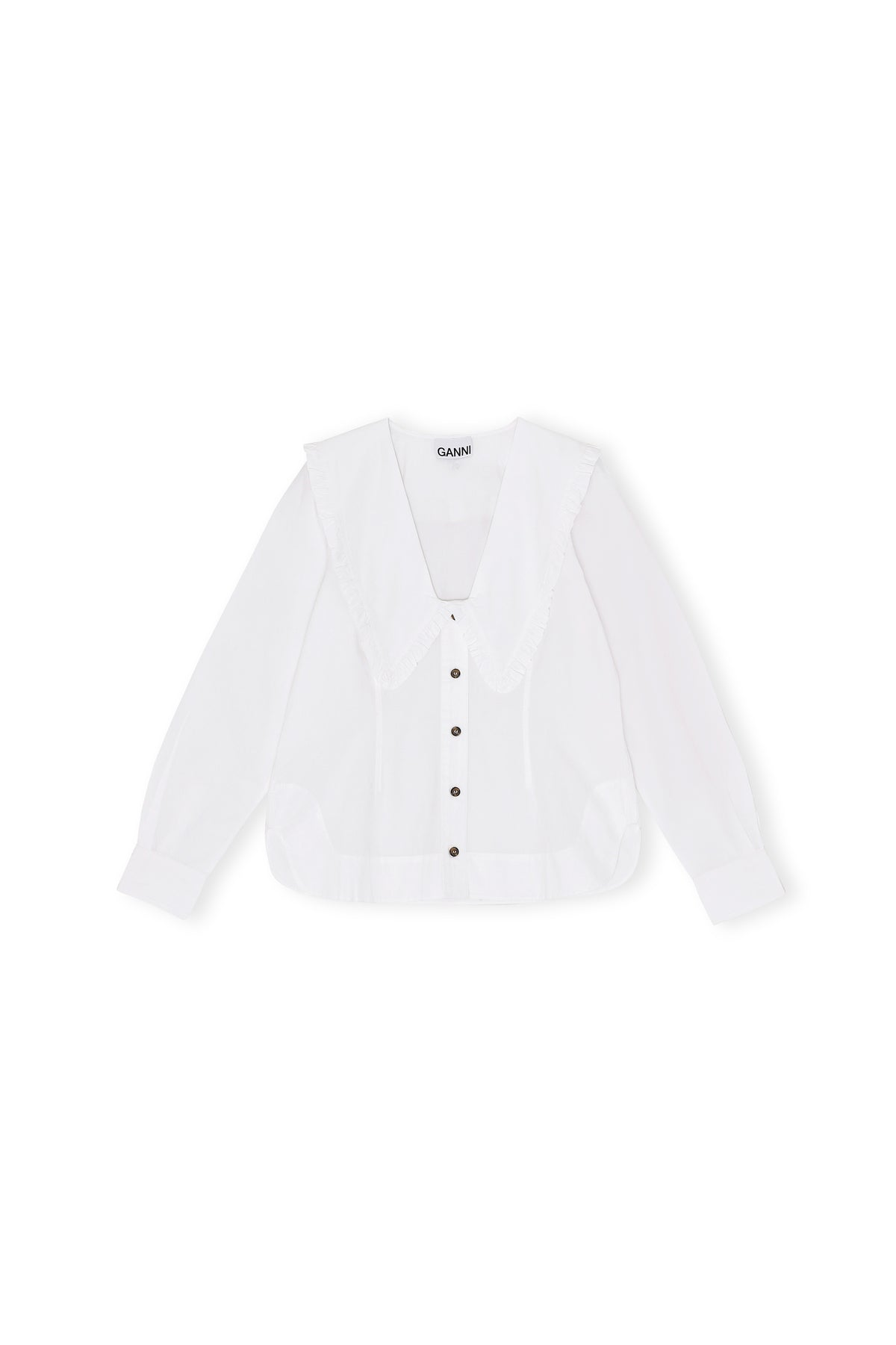 Cotton Poplin Frill Shirt | Bright White