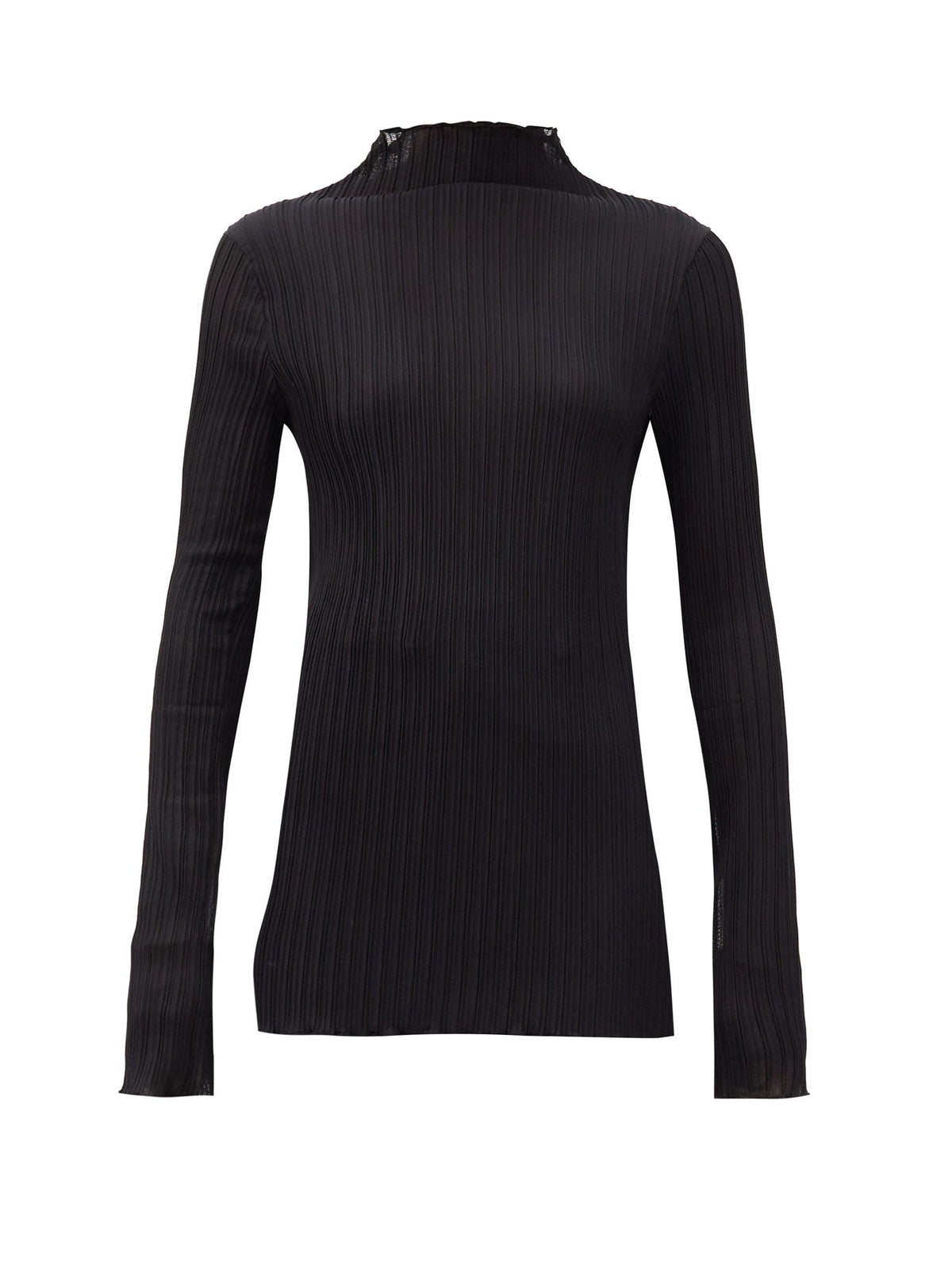 Ribbed Jersey High Neck Top | Black