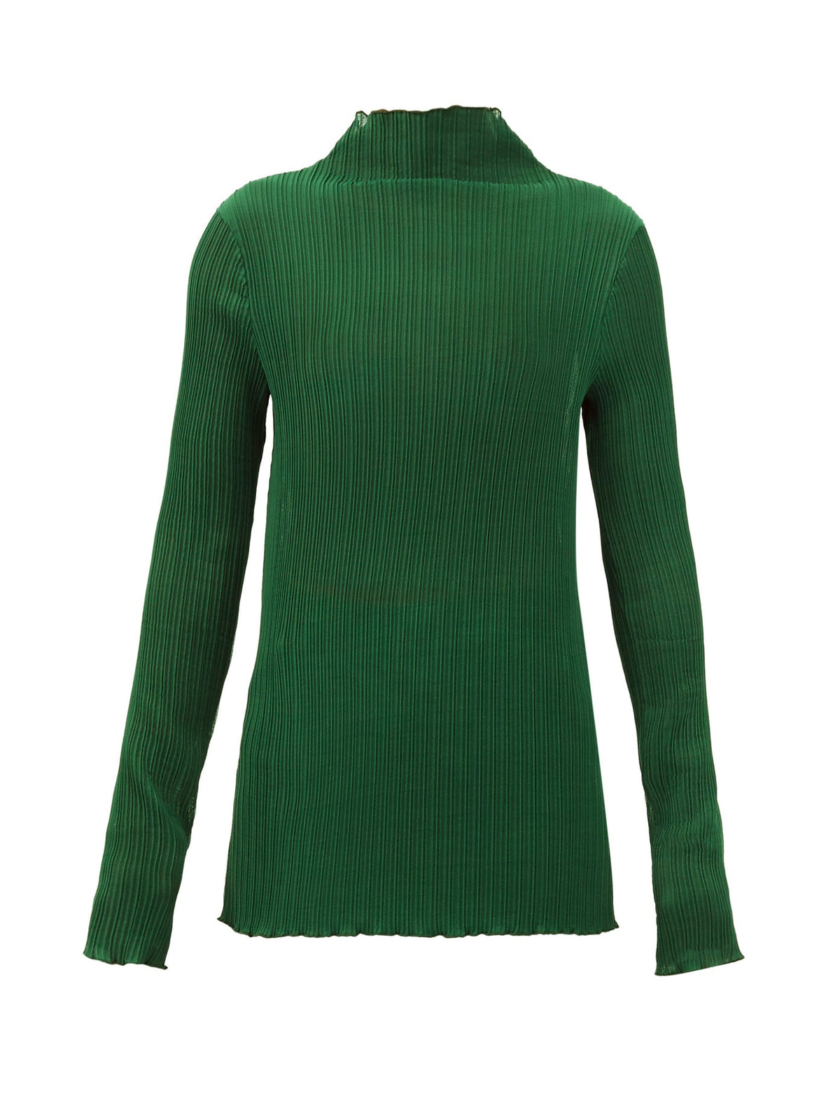 Ribbed Jersey High Neck Top | Green
