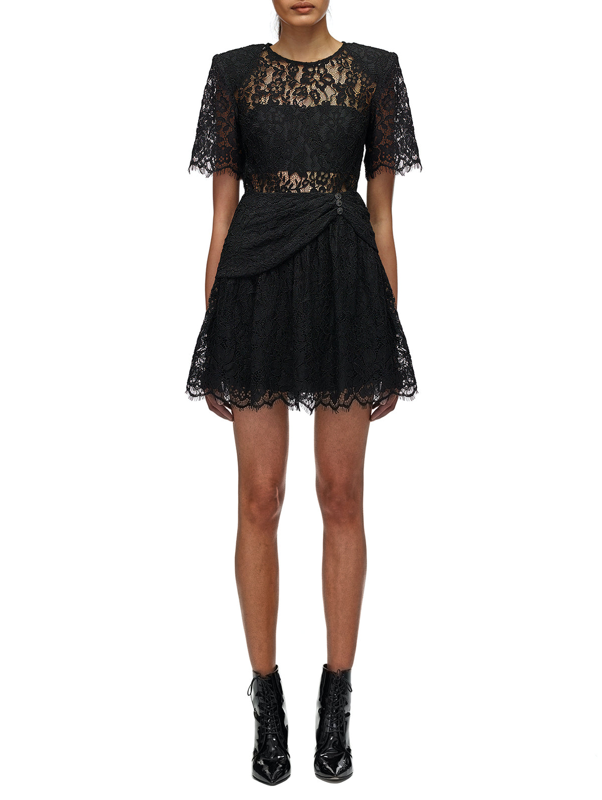 Self-Portrait - Fine Cord Sleeve Mini Dress | Black