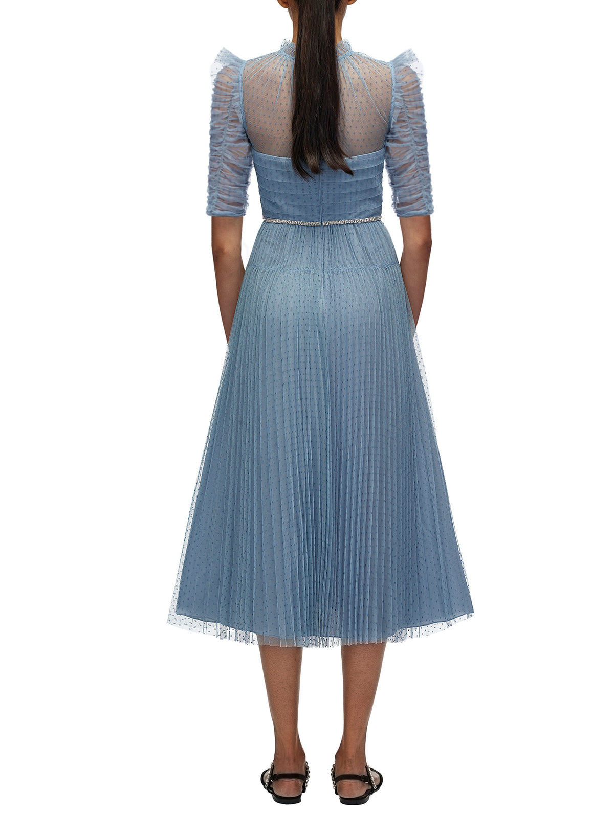 Self-Portrait - Dot Mesh Trim Midi Dress | Light Blue