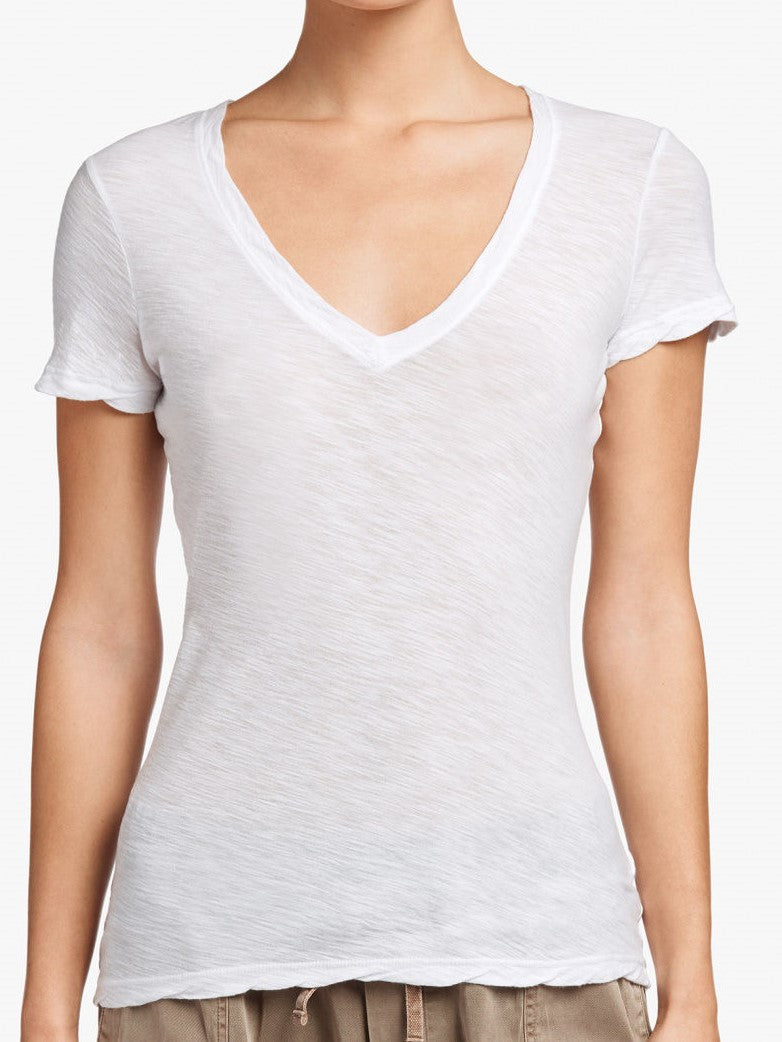 Casual T with Reverse Binding  - White