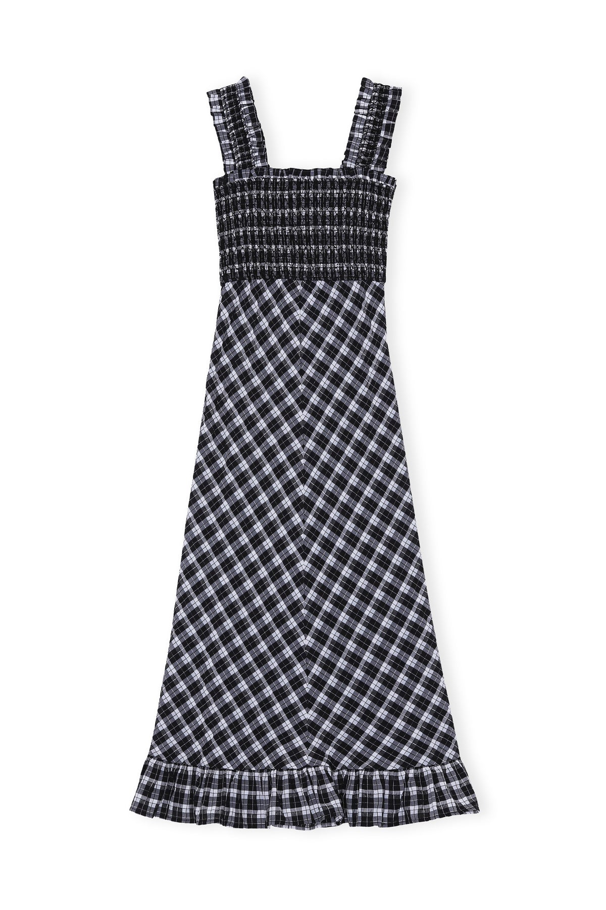 Seersucker Check Maxi Dress - Black