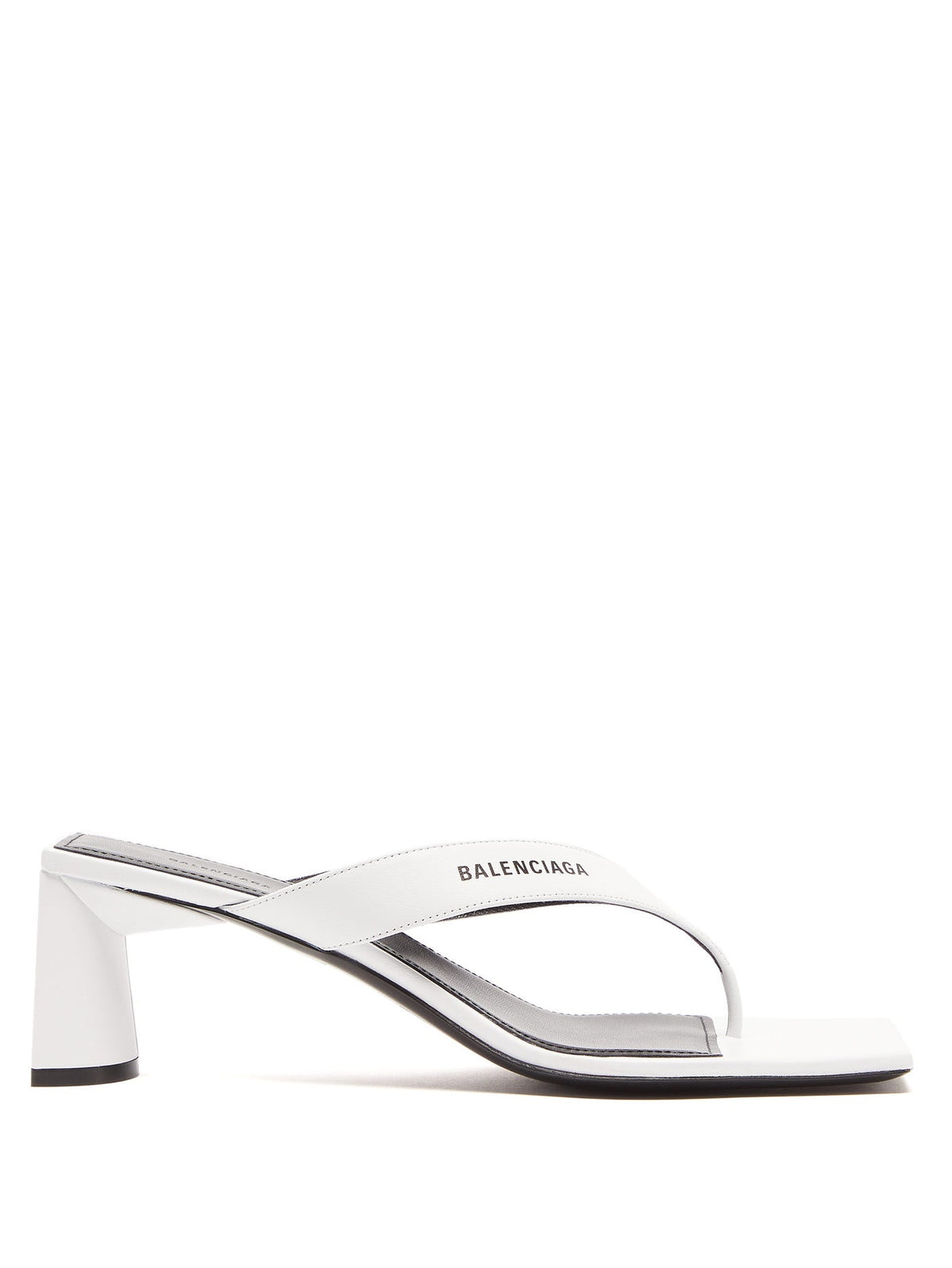 Double Square Leather Sandal - White/Black