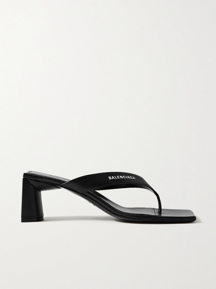 Double Square Leather Sandal - Black/White