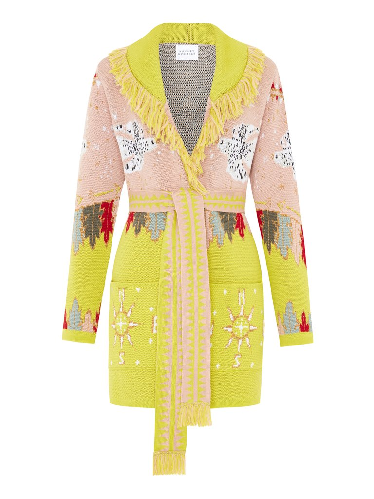 Hayley Menzies - Drifters Merino Wool Cardigan | Pink/Chartreuse