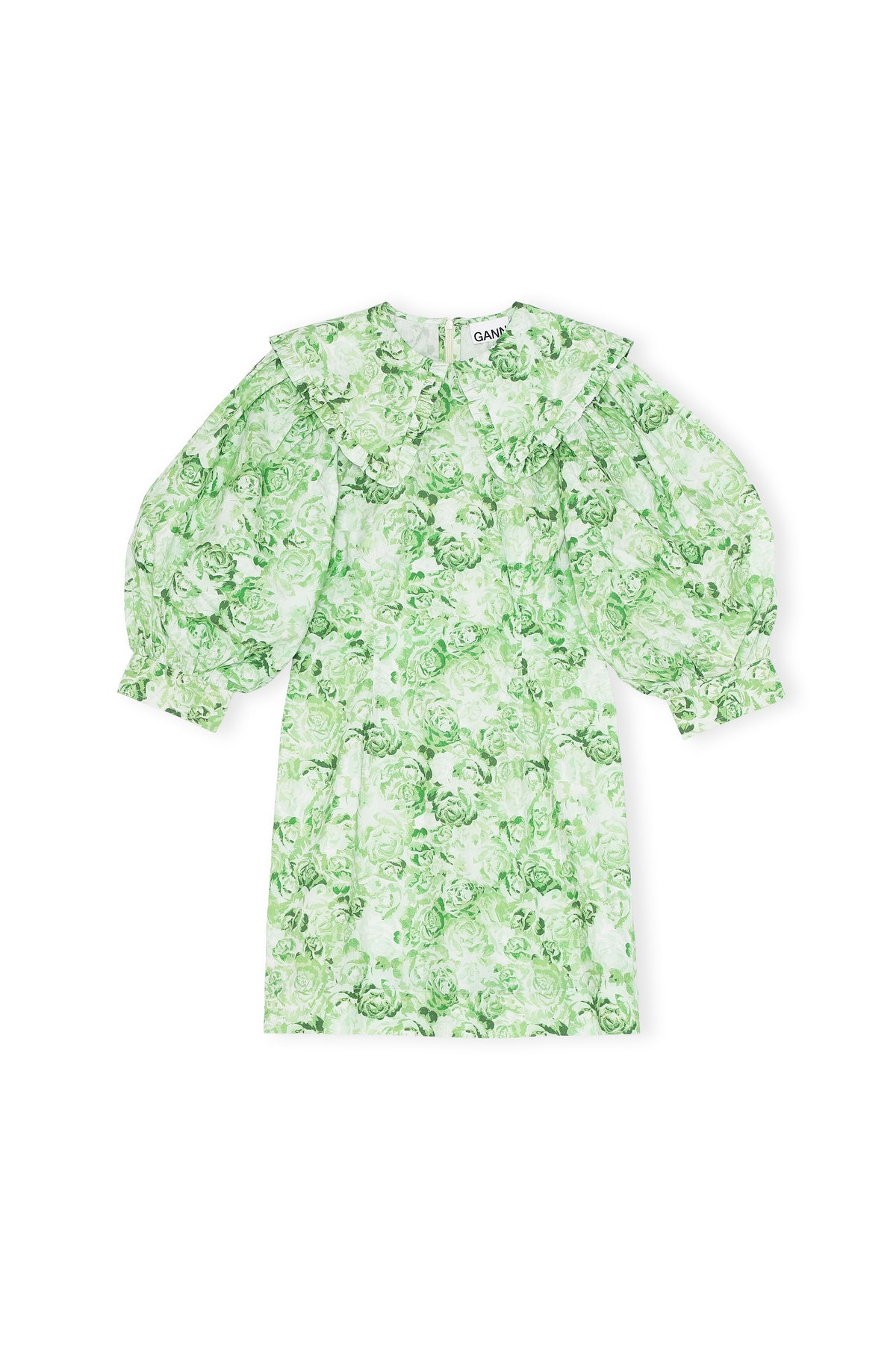 Printed Cotton Poplin Mini Dress - Island Green