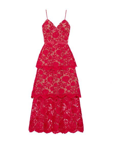 Fuchsia Flower Lace Midi Dress - FUCHSIA