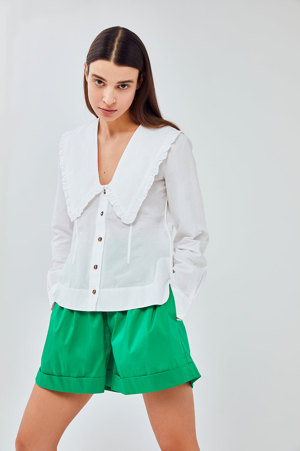 Ganni - Cotton Poplin Frill Shirt | Bright White