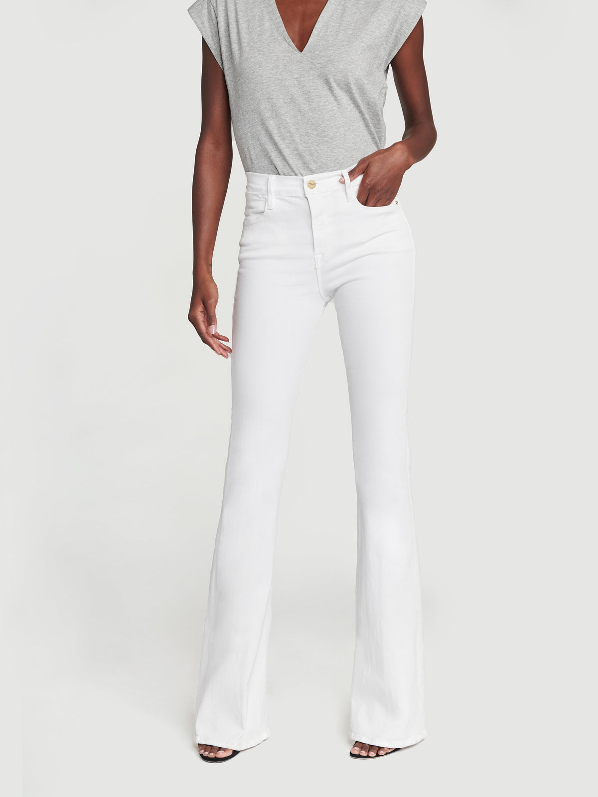 Le High Flare Jeans - White