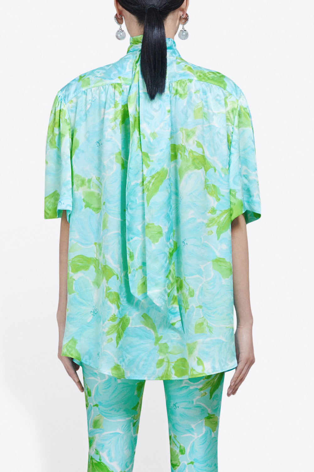 BALENCIAGA - Short Sleeve Scarf Blouse - Blue/Green