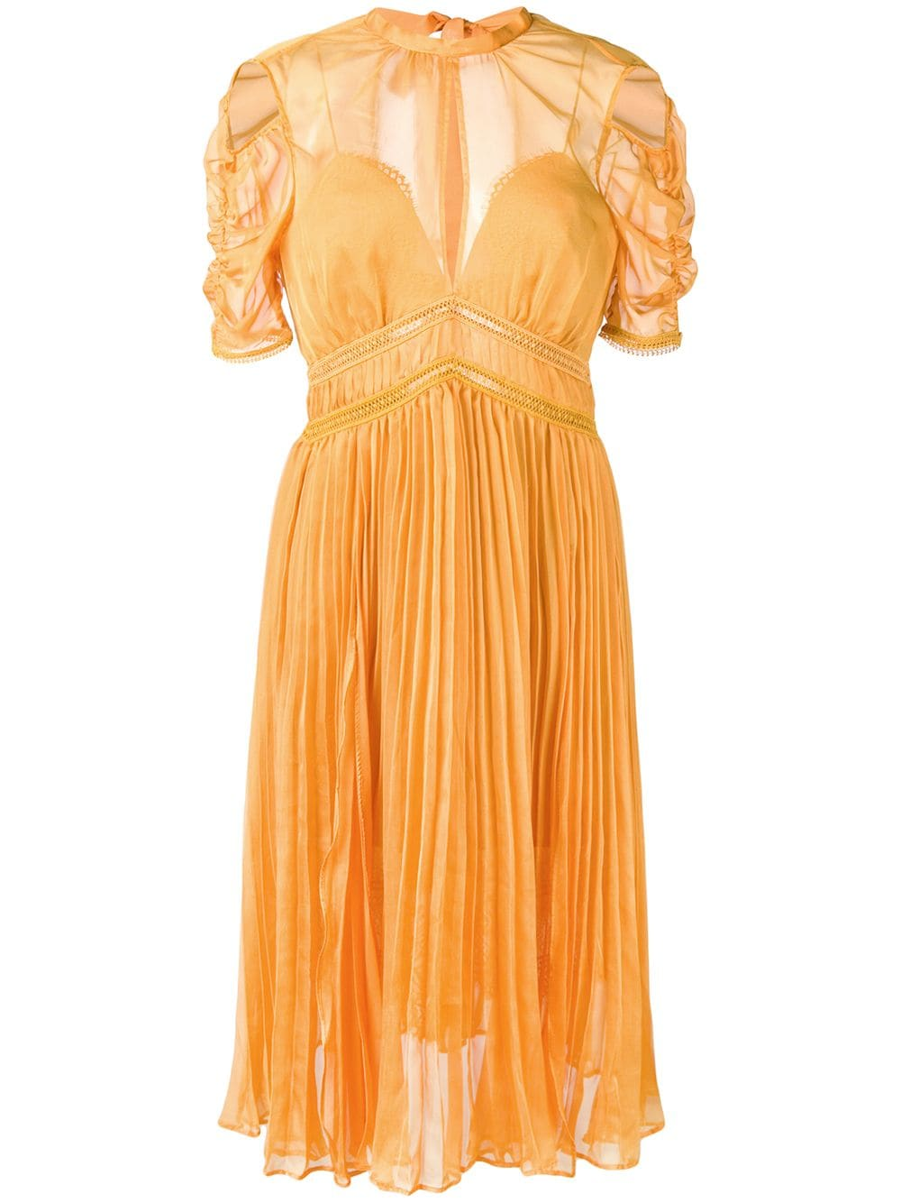 Mustard Pleated Chiffon Midi Dress