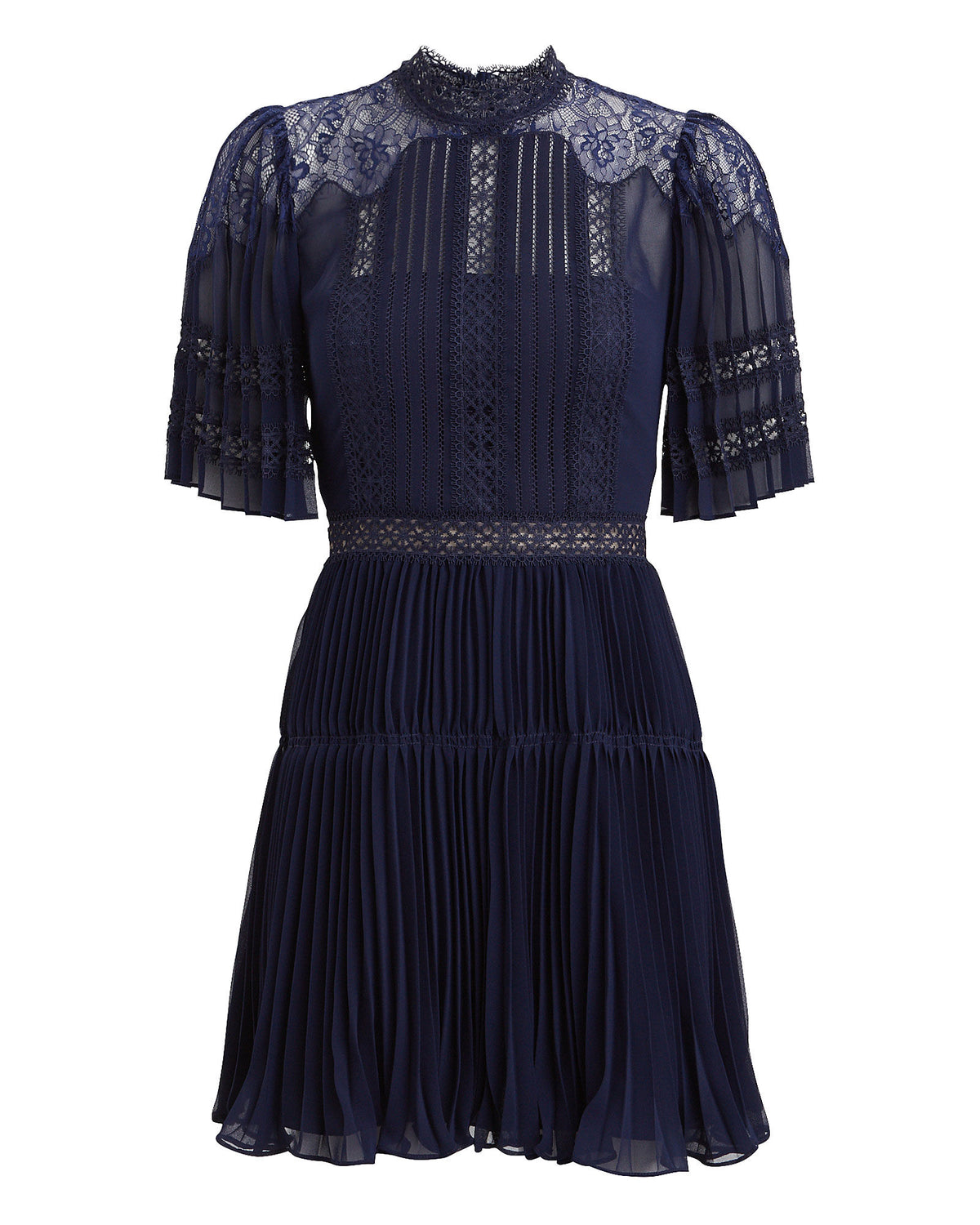 Chiffon&Lace Panel Mini Dress - Navy