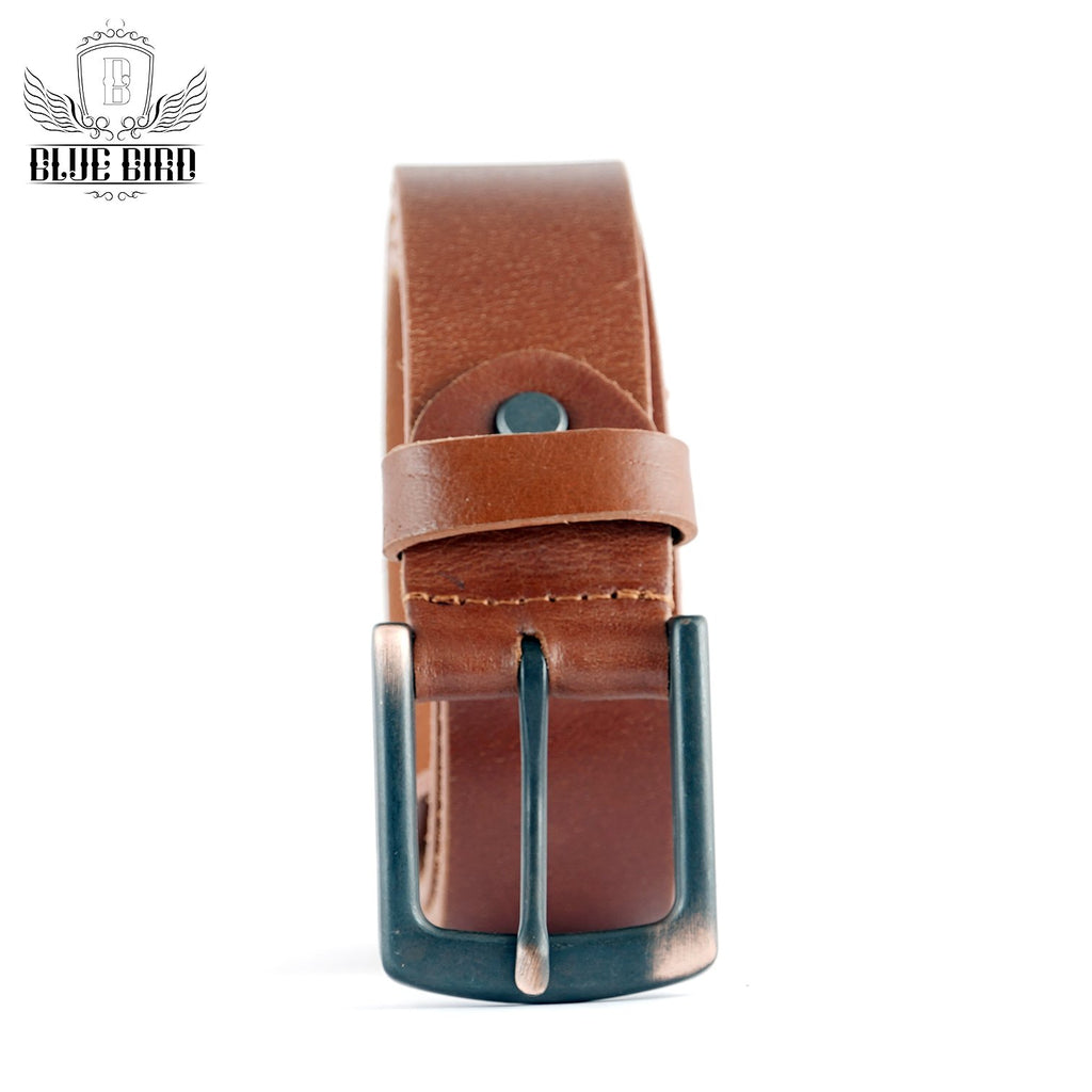 Blue Bird Leather Dress Belt (Brown)