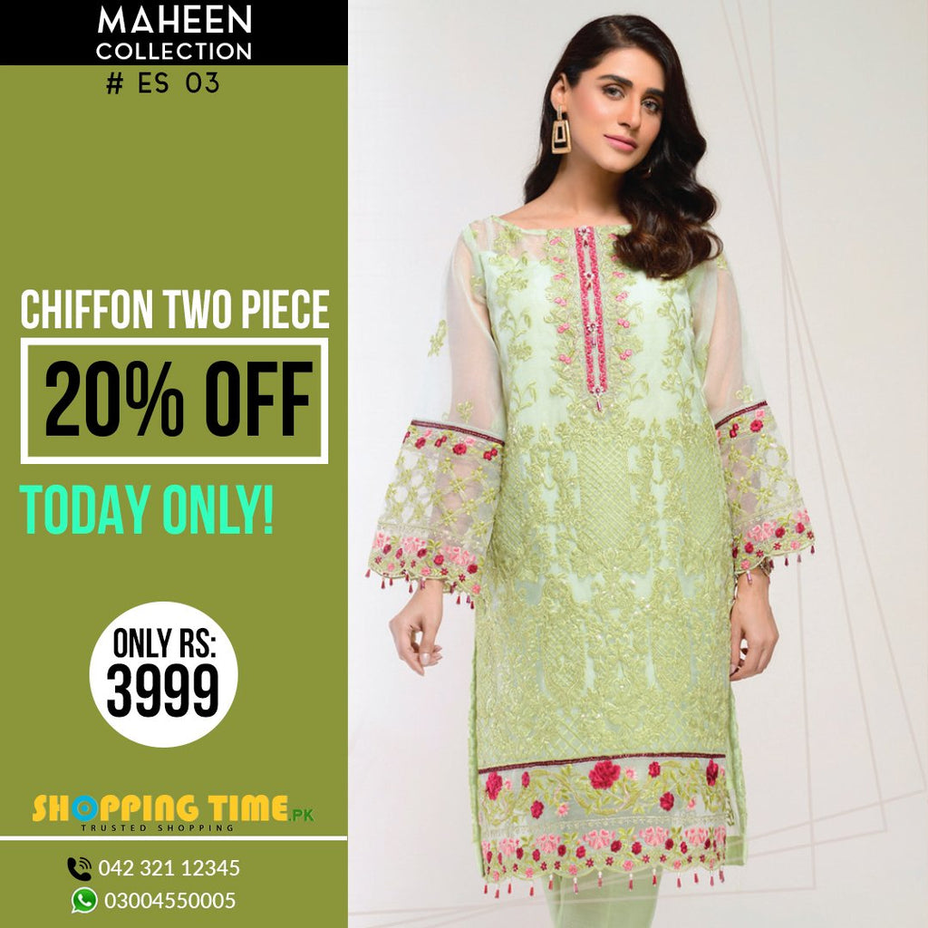 Maheen Collection Embroidered Chiffon 2 Piece Ladies Dress
