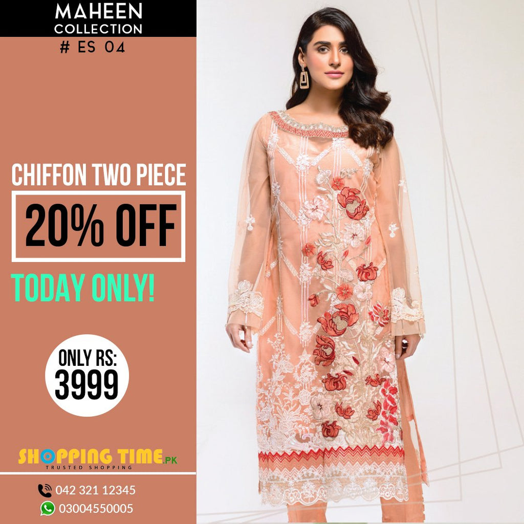 Maheen Collection Embroidered Chiffon 2 Piece Ladies Dress ES - 04