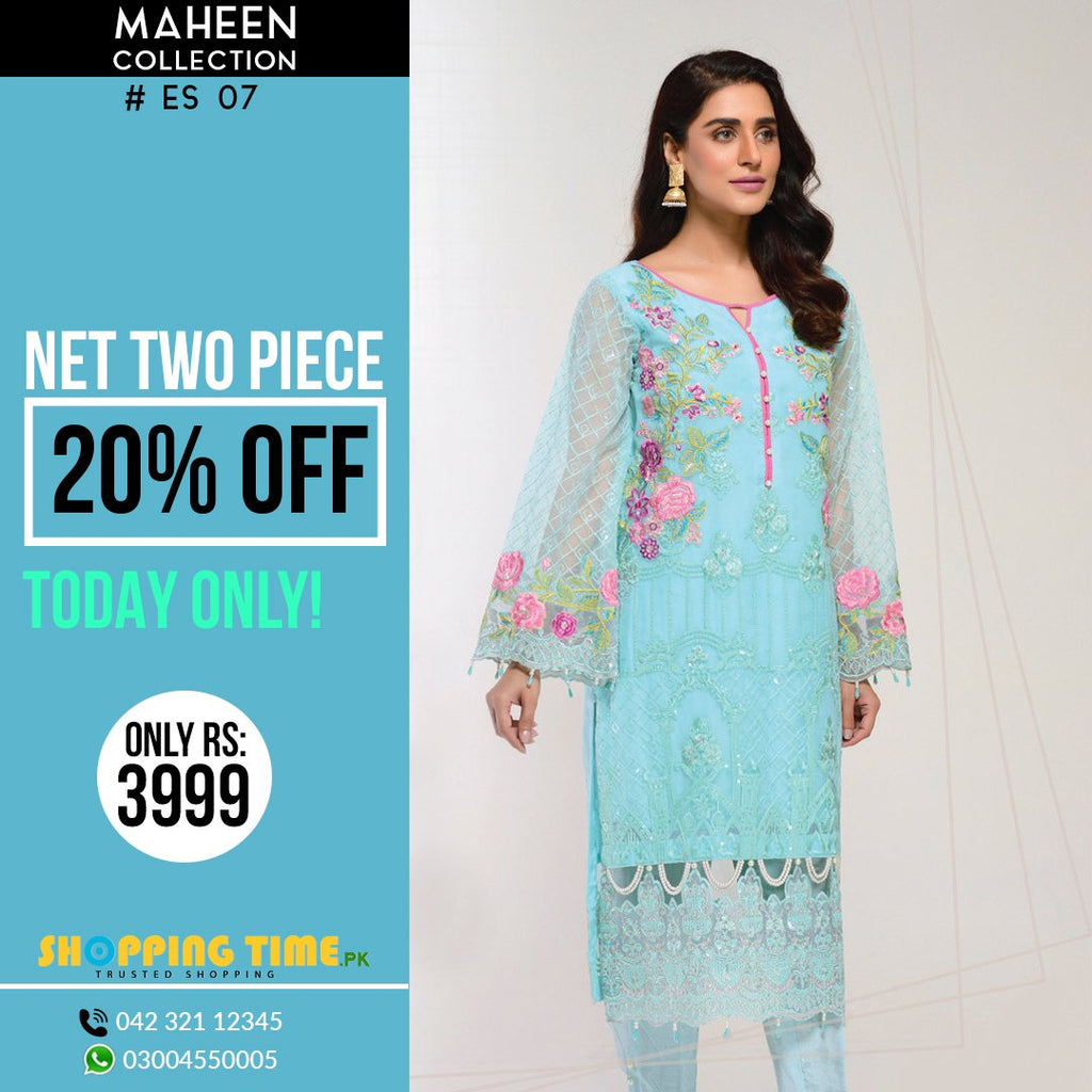 Maheen Collection Embroidered  Net 2 Piece Ladies Dress
