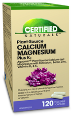 Certified Naturals Plant-Source Calcium Magnesium Plus K2 Capsules