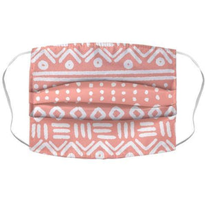 Abstract Geometric Coral Pink Boho Pattern Face Mask Cover - Dank Riot