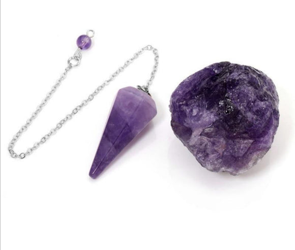 Amethyst Dowsing Natural Crystal Pendulum Set