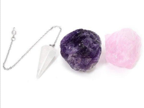 Raw Amethyst, Raw Rose Quartz, and Clear Quartz Dowsing Natural Crystal Pendulum Set