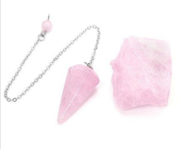 Rose Quartz Dowsing Natural Crystal Pendulum Set