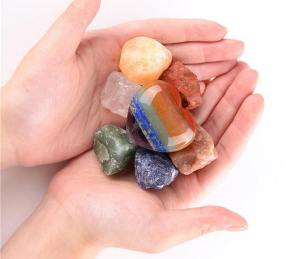 7 Chakras Heart Worry Stone With 7x Raw Chakra Stones Set