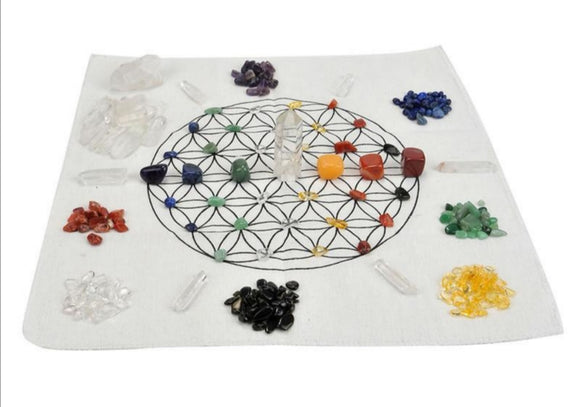 7 Chakras Assorted Stones Crystal Grid Set