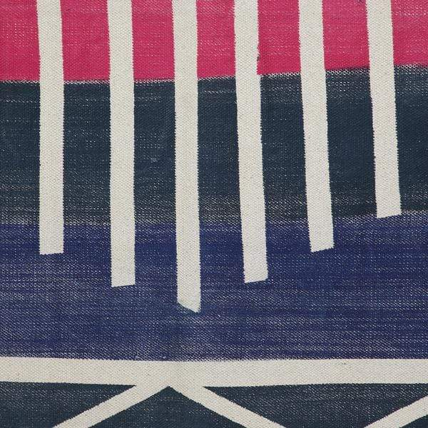 Navy Blue with Natural Stripes Printed Rug- 36X60 inch 1