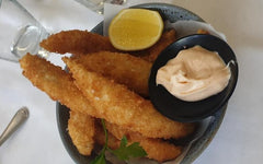 Flathead fingers in bowl with dipping sauce