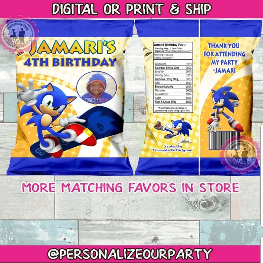 Sonic The Hedge Hog Inspired Chip Bags Wrappers Digital Or 1 Dozen Pri Personalize Our Party