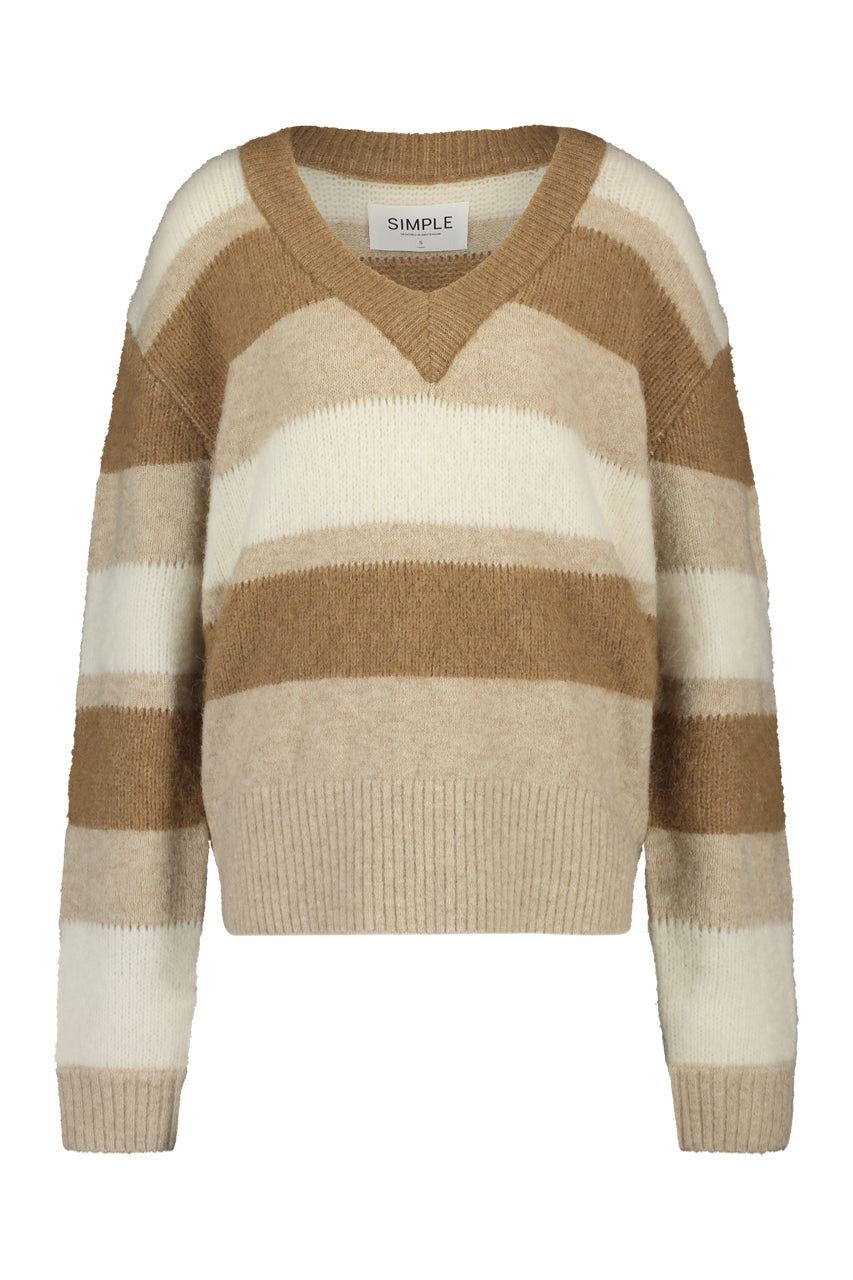 Oversized sweater with V-neck made of alpaca-wool mix