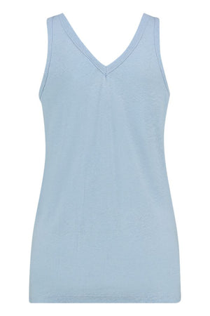 Top aus Linen in Blau