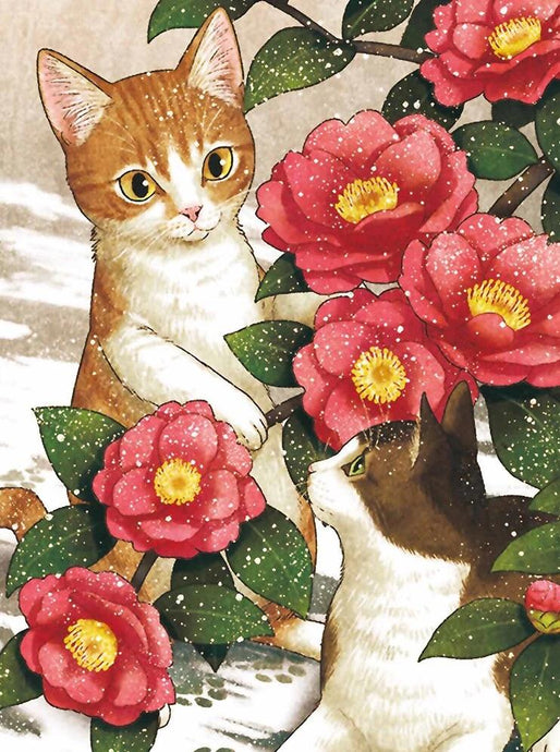 2 Cats and Flowers - diamond-painting-bliss.myshopify.com