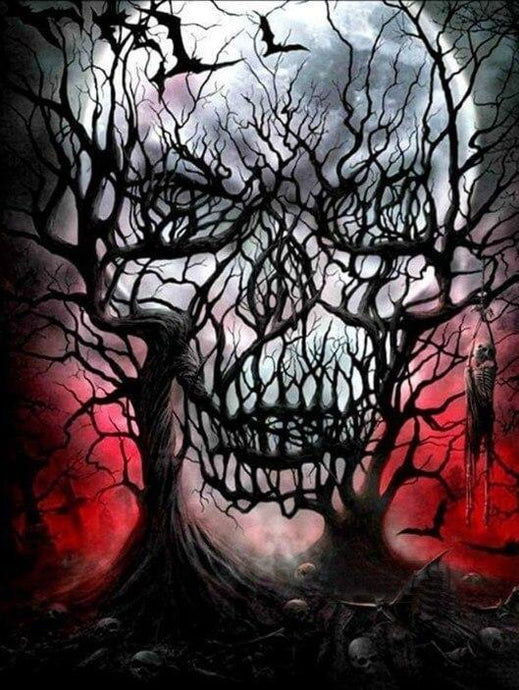 Abstract Skull Trees Painting Kit - diamond-painting-bliss.myshopify.com