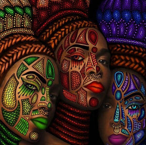 African Tribe Women Face Painting - diamond-painting-bliss.myshopify.com