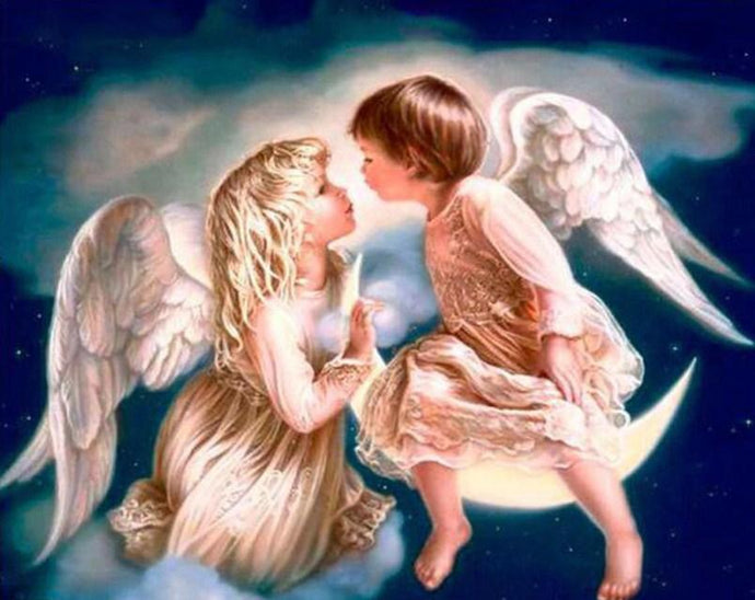 Angel Kiss on Moon - Paint by Diamonds - diamond-painting-bliss.myshopify.com