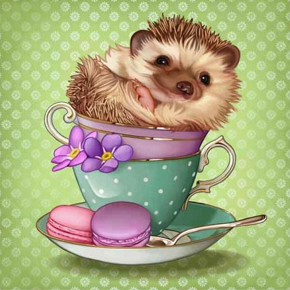 Baby Hedgehog in a Cup - diamond-painting-bliss.myshopify.com