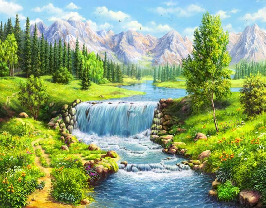 Beautiful Mountains & Flowing Water Stream - diamond-painting-bliss.myshopify.com